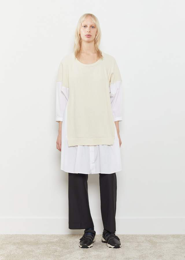 Y's Knit Panel Oversized Shirt Off White