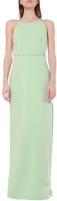 Miu Miu Green Crystals Embellishment Long Dress