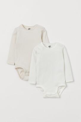 H&M 2-pack Long-sleeved Bodysuits - Beige
