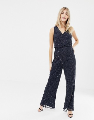 Lace & Beads embellished wide leg jumpsuit in navy