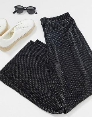 Pimkie plisse wide leg pant in black