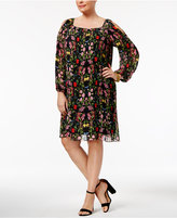 INC International Concepts Plus Size Pleated Cold-Shoulder Dress, Only at Macy's