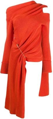 Monse Large-Pin Asymmetric Knitted Top