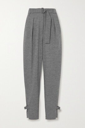 3.1 Phillip Lim - Belted Pleated Melange Wool Tapered Pants - Gray