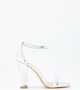 Glamorous Wide Fit sandals with block heel in silver mirror