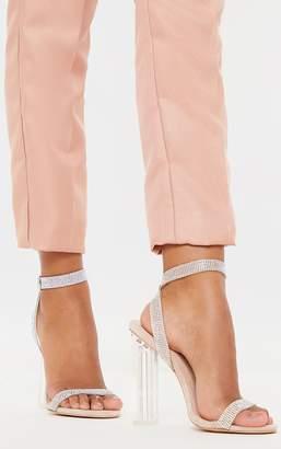 PrettyLittleThing Nude Clear Block Heel Diamante Strap Sandal