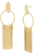 Boutique + + Gold Oval Fringe Drop Earring
