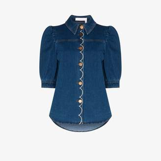 See by Chloe scalloped denim blouse
