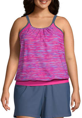 Free Country Striped Tankini Swimsuit Top Plus