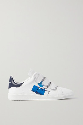 Isabel Marant Brownsy Logo-print Embroidered Leather Sneakers - White