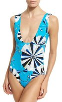 Emilio Pucci Parasol Reversible One-Piece Swimsuit, Turquoise