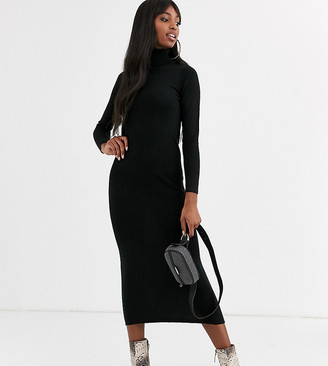 Brave Soul Tall toulouse maxi dress with roll neck-Black