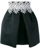 Sara Battaglia leaf detail front pleat skirt