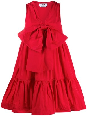 MSGM Bow Detail Tiered Dress