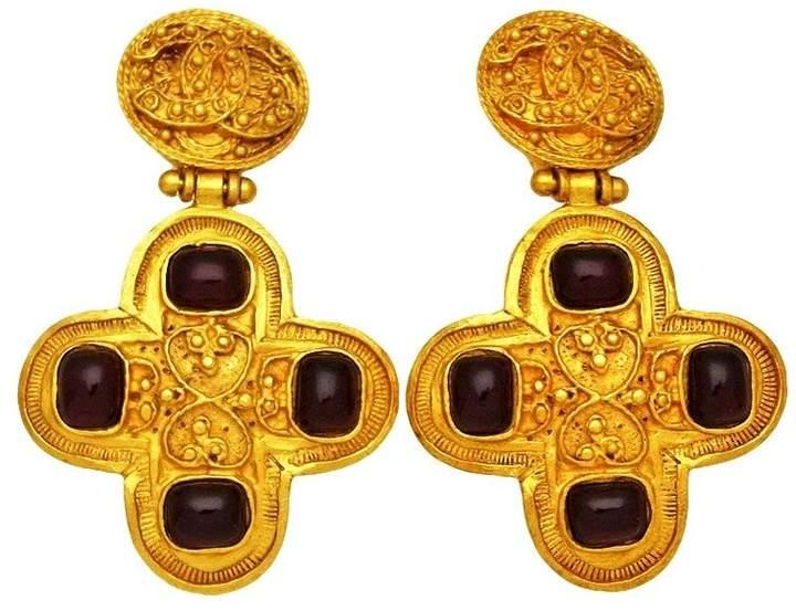 Chanel CC Logo Gold Tone Metal Red Stone Cross Dangle Earrings