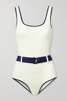 Thumbnail for your product : ODYSSEE Davis Belted Two-tone Recycled Swimsuit