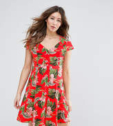 Asos Button Through Tea Dress In Tropical Print