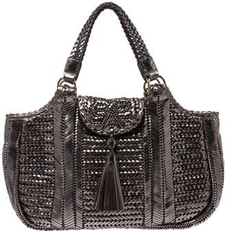 Anya Hindmarch Metallic SIlver Woven Leather Neeson Bag
