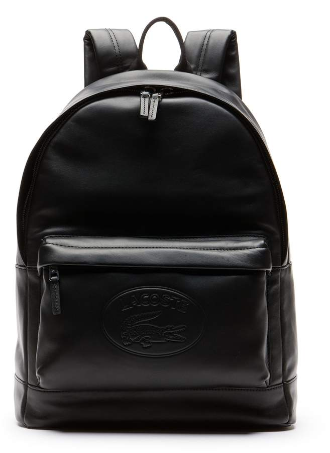 Lacoste Men's L.12.12 Casual Embossed Lettering Leather Backpack