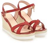 Butiti BUTITI Women's Sandals red - Red Crisscross Espadrille - Girls & Women