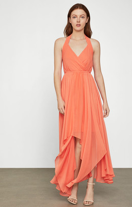 BCBGMAXAZRIA Chiffon Halter Dress