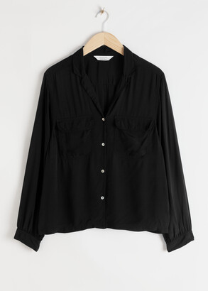 And other stories Satin Open Collar Blouse
