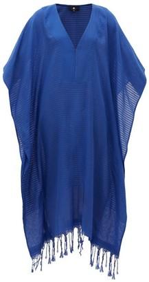SU PARIS Jimba V-neck Fringed Cotton Kaftan - Blue