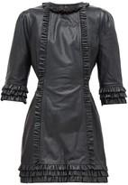 Current/Elliott X Vampires Wife - Ruffled Leather Mini Dress - Womens - Black