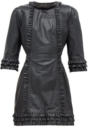 Current/elliott X Vampires Wife - Ruffled Leather Mini Dress - Black