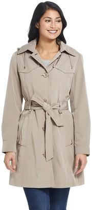 Gallery Women's Hooded Rain Trench Coat