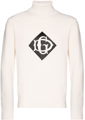 Dolce & Gabbana Logo-Embroidered Turtleneck Sweater