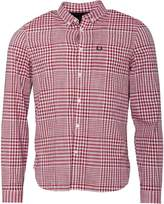 Fred Perry Mens Distorted Gingham Long Sleeve Shirt England Red