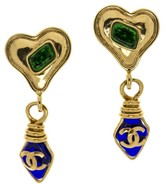 Chanel Gripoix Heart CC Logo Dangle Earrings