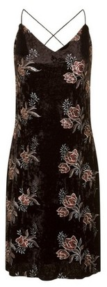 Dorothy Perkins Womens Girls On Film Black Floral Mini Slip Dress, Black