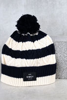 Obey Freja Navy Blue Striped Knit Beanie
