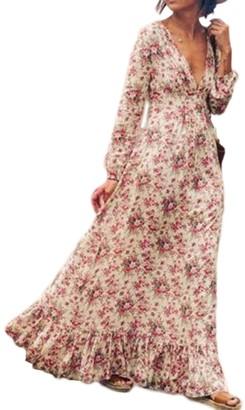 Sevozimda Women's Bohemian Floral Print Long Sleeve V Neck Long Maxi Swing Dress Plus Size Pink XL
