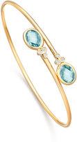 Kiki McDonough Eternal Blue Topaz & Diamond Bypass Bangle Bracelet