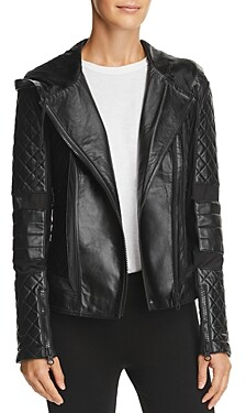 Blanc Noir Voyage Leather & Mesh Hooded Moto Jacket