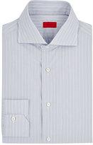 Isaia Men's Pinstriped Cotton Poplin Shirt-LIGHT GREY, WHITE