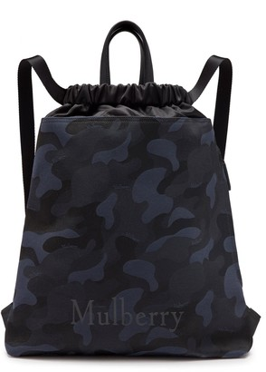 Mulberry Urban Drawstring Backpack Midnight and Black Camo Jacquard