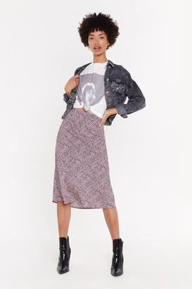 Nasty Gal Womens Pwg Mini Leopard Bis Cut Midi Skirt - Pink - 6, Pink
