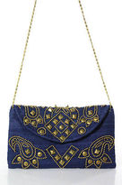 Moyna Dark Blue Gold Stud Embellished Denim Handbag NEW