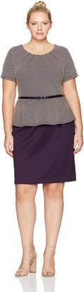 Connected Apparel Women's Plus Size Belted Peplum Dot Dress