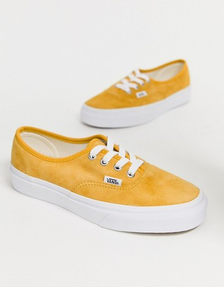 Vans Authentic mustard suede trainers-Yellow