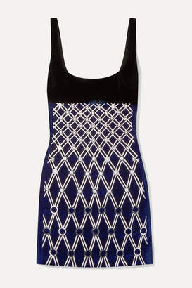 David Koma Embellished Embroidered Cotton-blend Velvet Mini Dress - Midnight blue