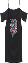 Matthew Williamson Off-the-shoulder embellished embroidered silk crepe de chine dress
