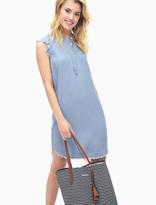 Splendid Chambray Crosshatch Henley Dress