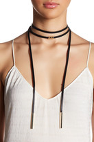 Cara Accessories Faux Leather Layered Choker Necklace