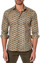 Jared Lang Owl-Print Sport Shirt, Green