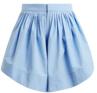 Chloé Pleated Cotton Shorts - Womens - Blue